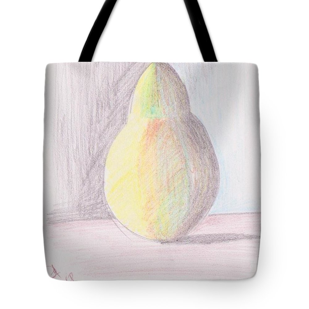Pencil Work On Paper Tote Bag featuring the drawing My Pear by Mustafa Attari