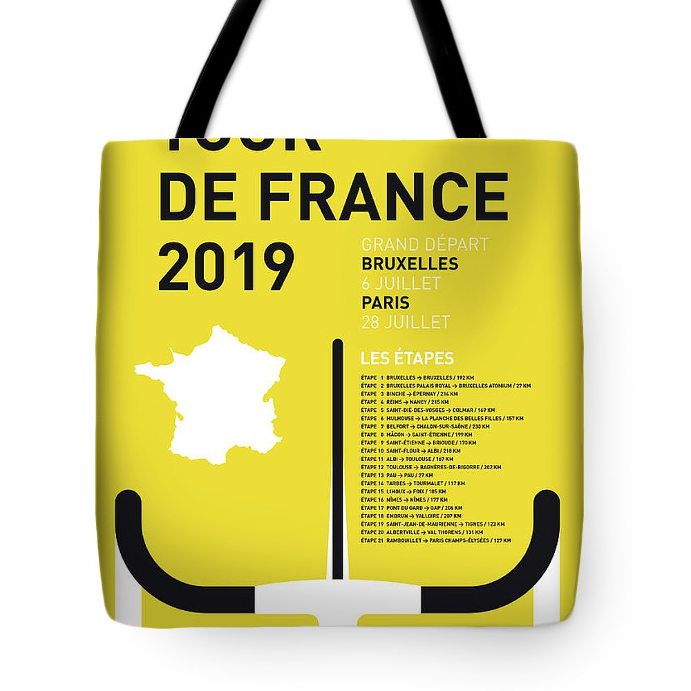 2019 Tote Bag featuring the digital art My Tour De France Minimal Poster 2019 by Chungkong Art