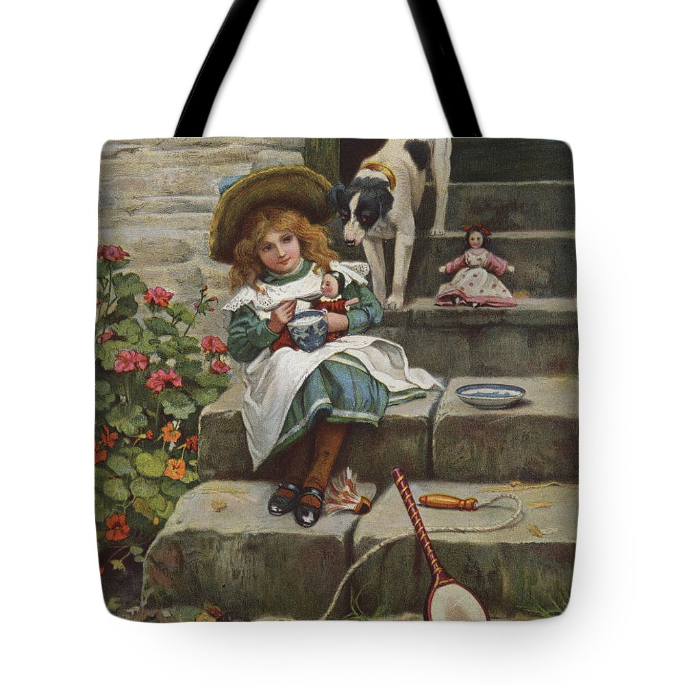 Doyle Tote Bag featuring the painting My Turn Next, 19th Century by Richard Doyle