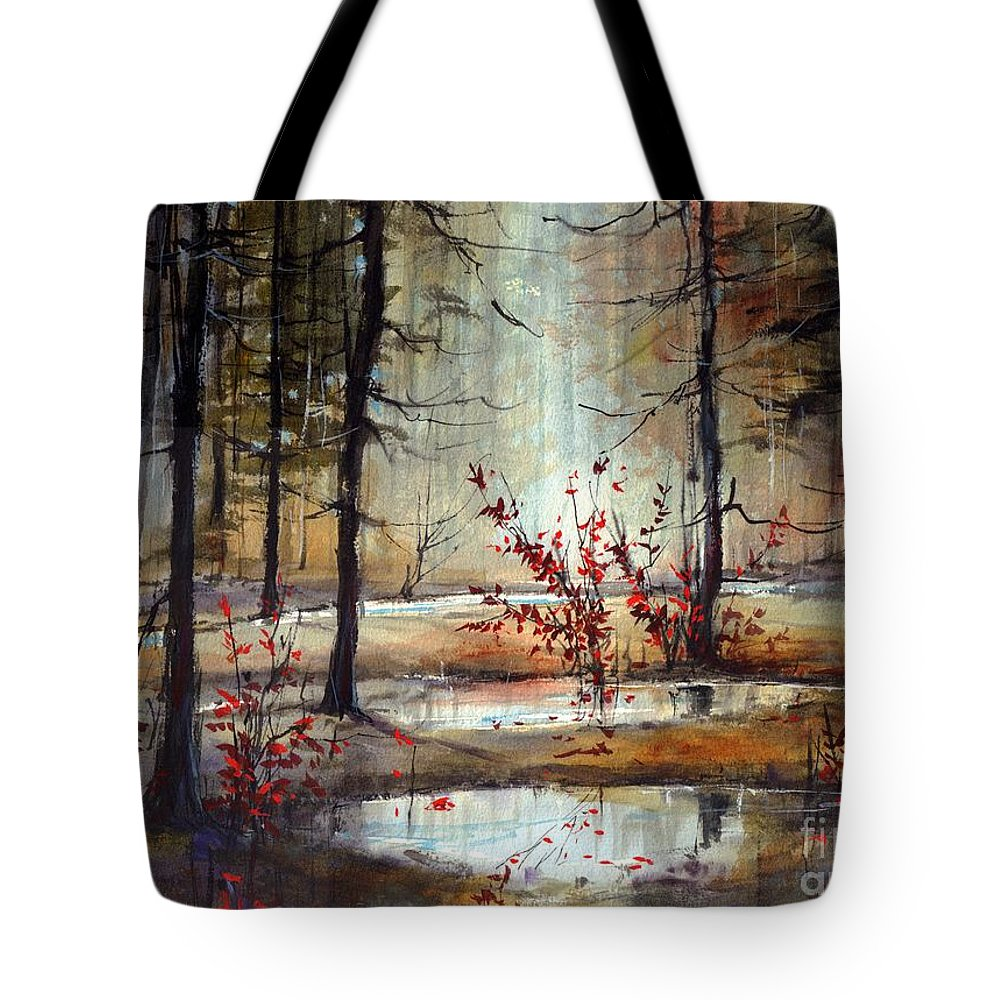 Wild Tote Bag featuring the painting Mystic Forest by Suzann Sines