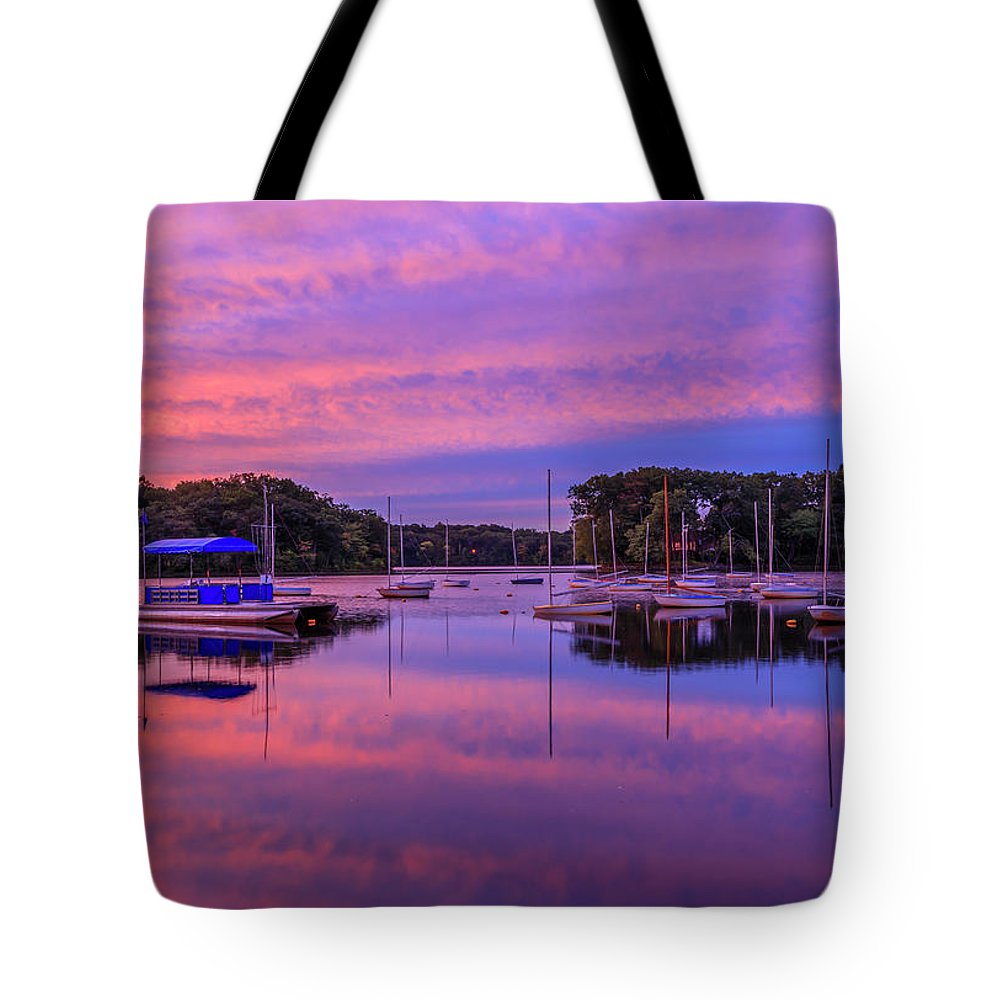 Sunrise Tote Bag featuring the photograph Mystic Lake Sunrise by Rob Davies