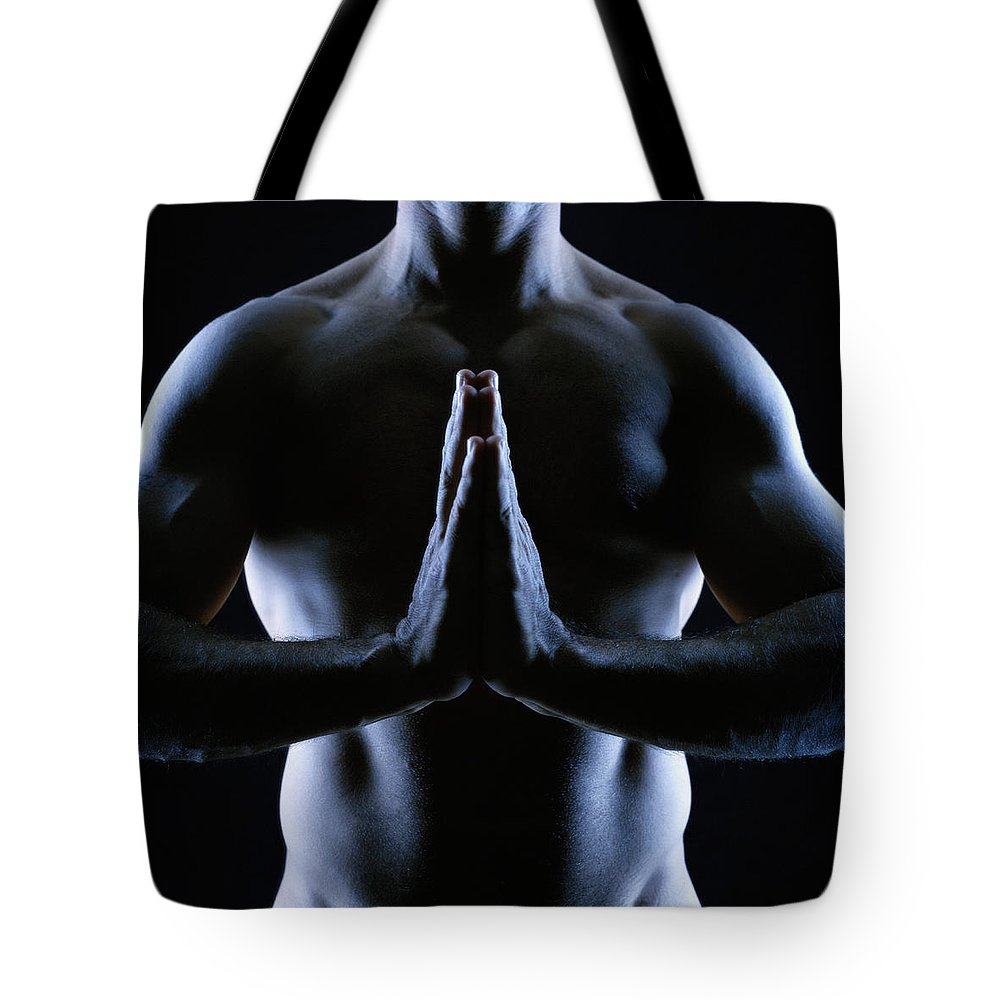 Shadow Tote Bag featuring the photograph Naked Man Pressing Palms Together by Anthony Saint James