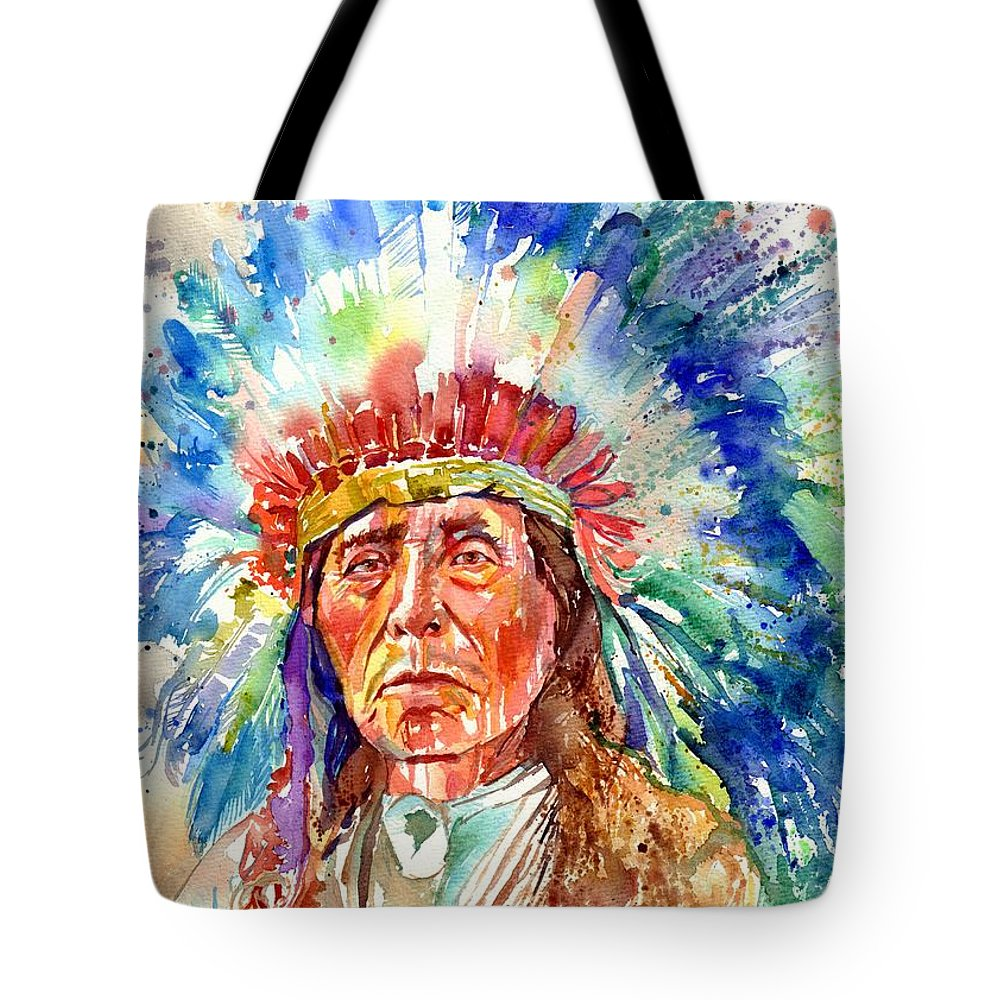 Iowa Tote Bag featuring the painting Native American Chief by Suzann Sines