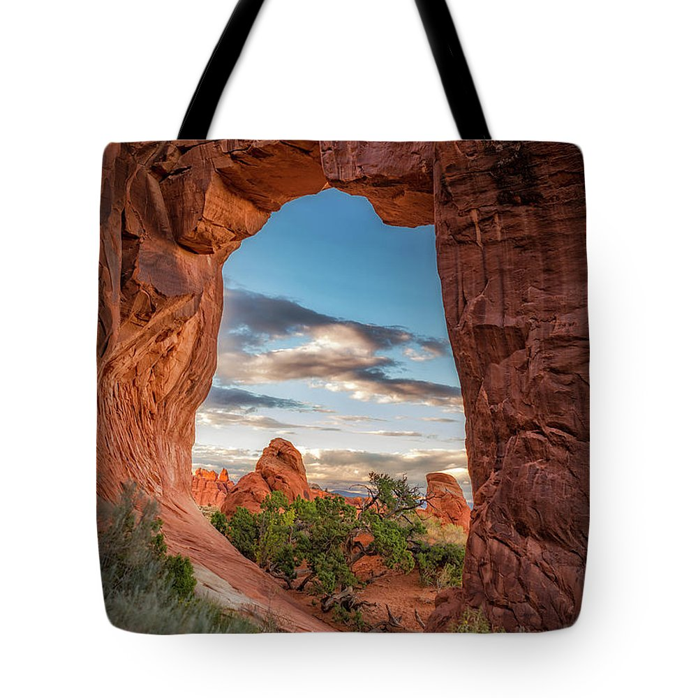 Arch Tote Bag featuring the photograph Nature's Picture Frame by Marybeth Kiczenski