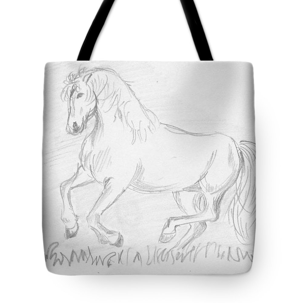 Pencil Work On Paper Tote Bag featuring the drawing Naughty Horse by Mustafa Attari