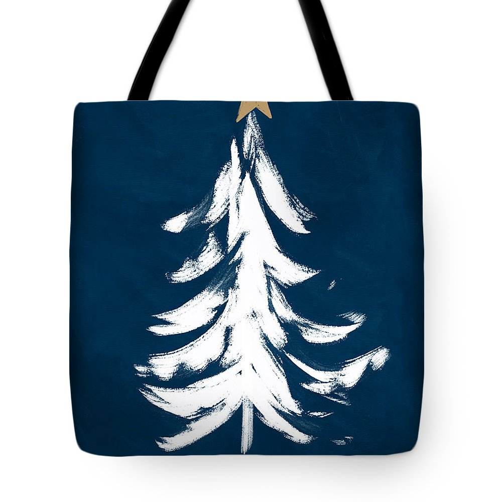 Christmas Tote Bag featuring the mixed media Navy And White Christmas Tree 1- Art By Linda Woods by Linda Woods
