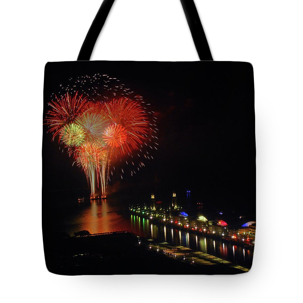 Firework Display Tote Bag featuring the photograph Navy Pier Fireworks by Image By Douglas R. Siefken