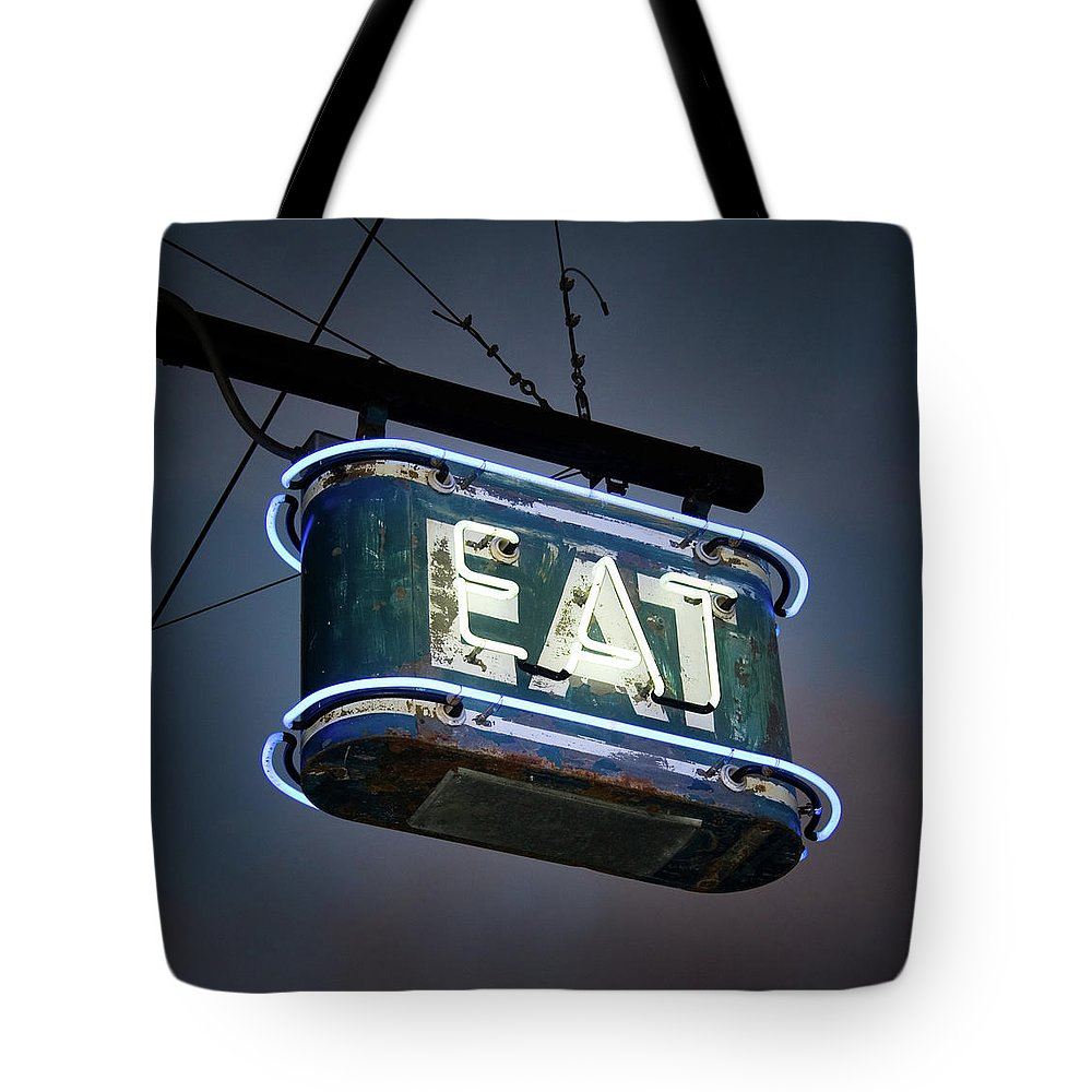 Hanging Tote Bag featuring the photograph Neon Eat Sign by Kjohansen