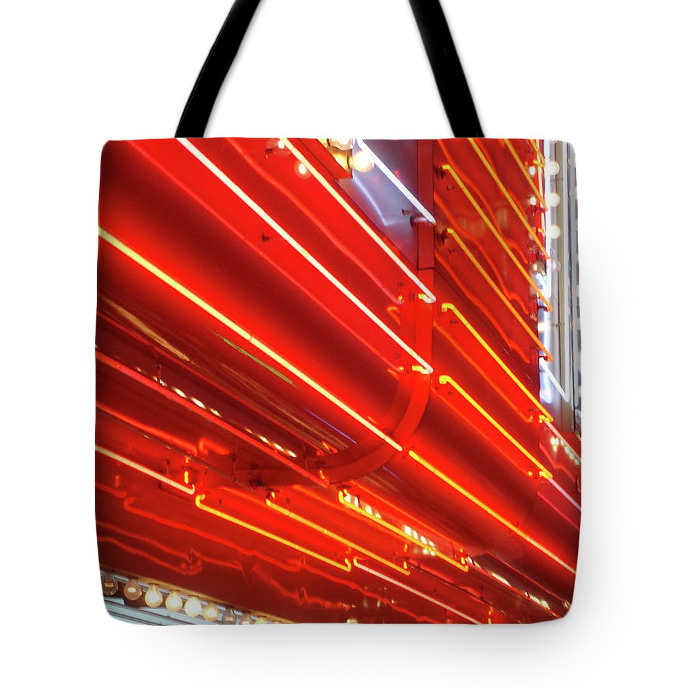 Downtown District Tote Bag featuring the photograph Neon Lights Downtown Las Vegas by Jill Tindall