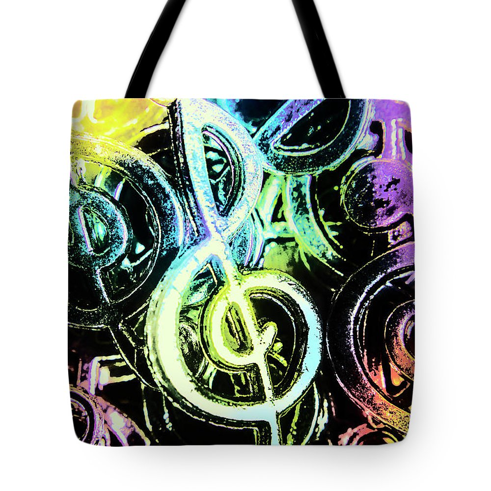 Funky Tote Bag featuring the photograph Neon Notes by Jorgo Photography - Wall Art Gallery