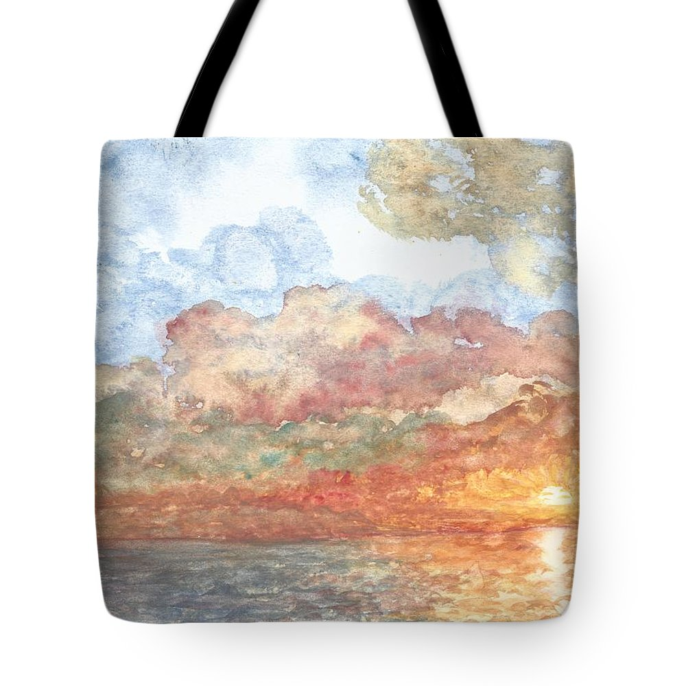 Lake Tote Bag featuring the painting New Every Morning by Linda Humes