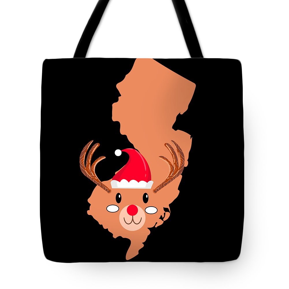 Adventure Tote Bag featuring the digital art New Jersey Christmas Hat Antler Red Nose Reindeer by TeeQueen2603