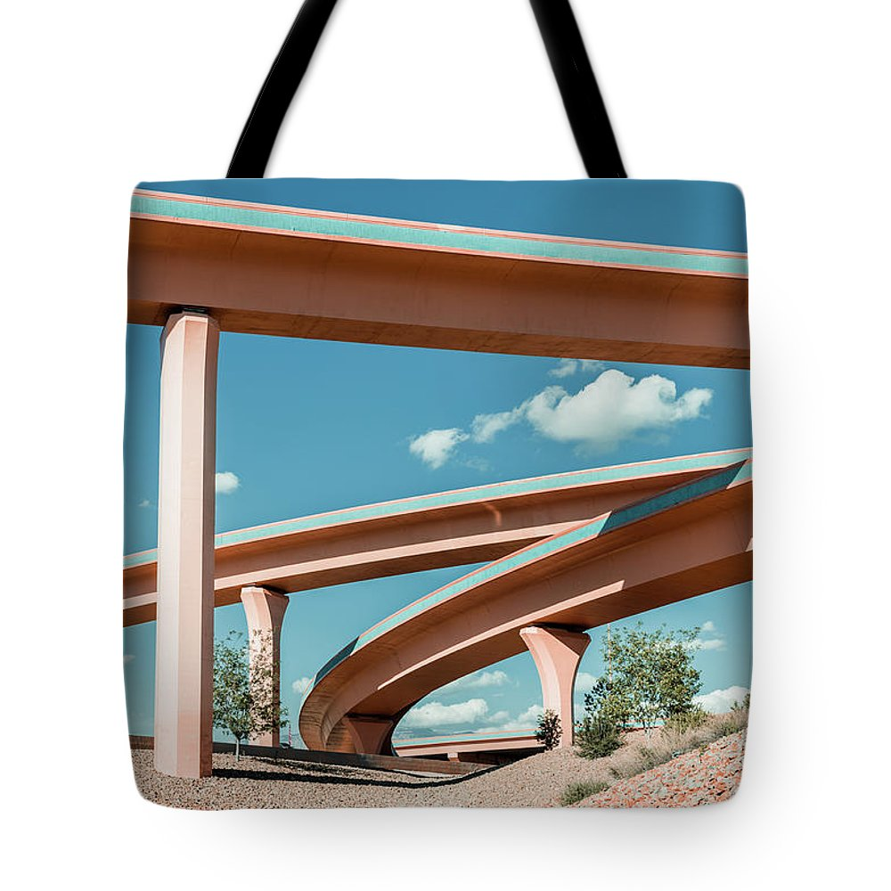 Autobahn Tote Bag featuring the photograph New Mexico Albuquerque Interstate by Mlenny