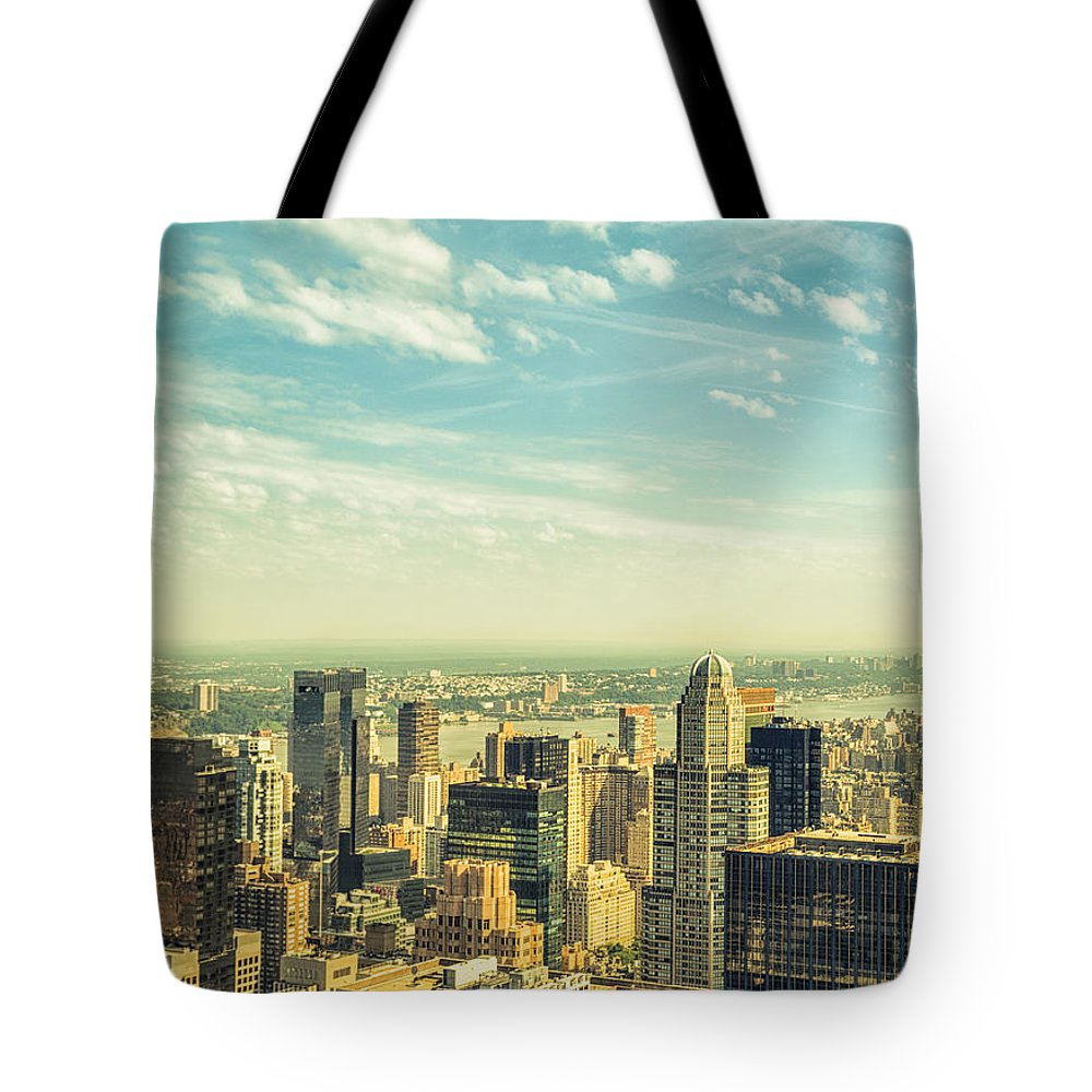Lower Manhattan Tote Bag featuring the photograph New York City Skyline With Central Park by Franckreporter