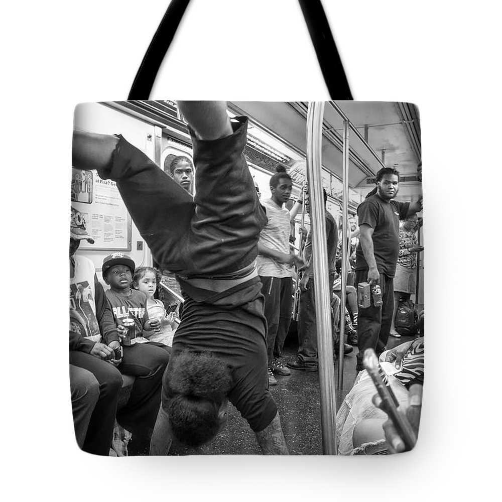Black & White Tote Bag featuring the photograph New York Moment by Resa Sunshine