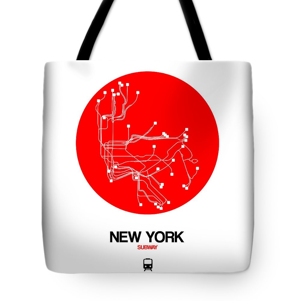 New York Tote Bag featuring the digital art New York Red Subway Map by Naxart Studio
