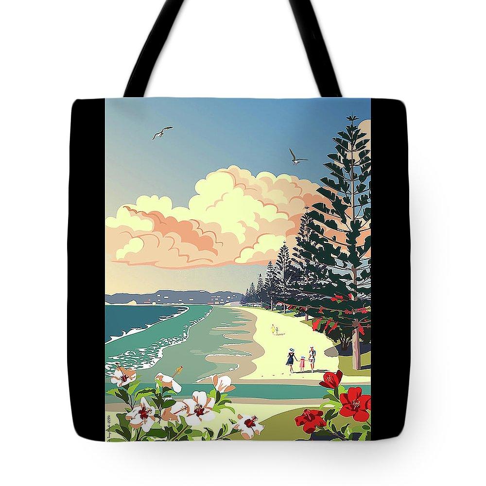 New Zealand Orewa Orewa Beach Swimmers Nostalgia Hibiscus Flowers Norfolk Pines Tote Bag featuring the digital art New Zealand Orewa Beach by Illidan Raven