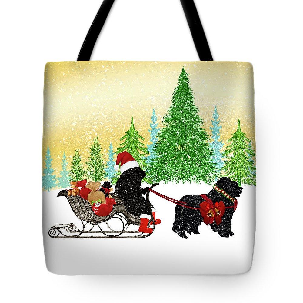 Newf Tote Bag featuring the digital art Newfoundland Dog Christmas by Christine Mullis