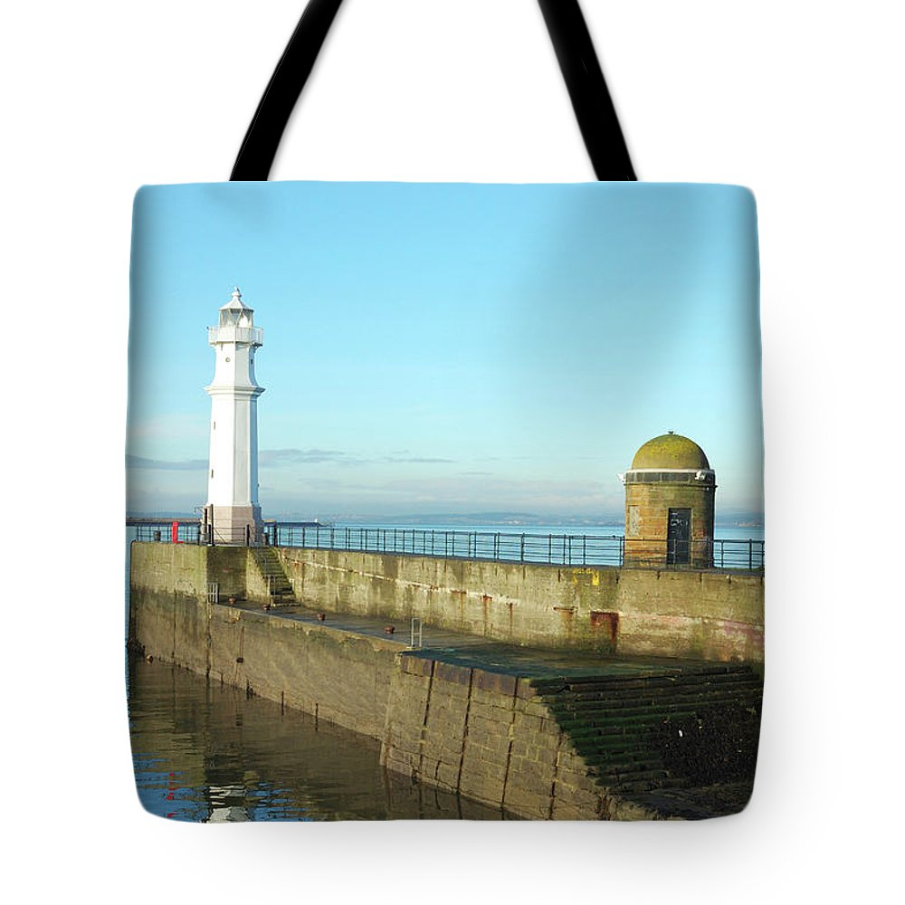Coast Tote Bag featuring the photograph Newhaven Harbour Edinburgh by Victor Lord Denovan