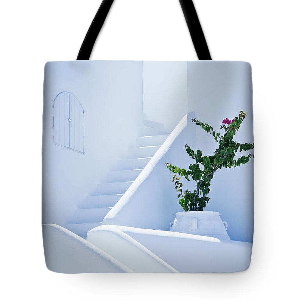 Steps Tote Bag featuring the photograph Nice White Stairs In Oia Village by Mbbirdy