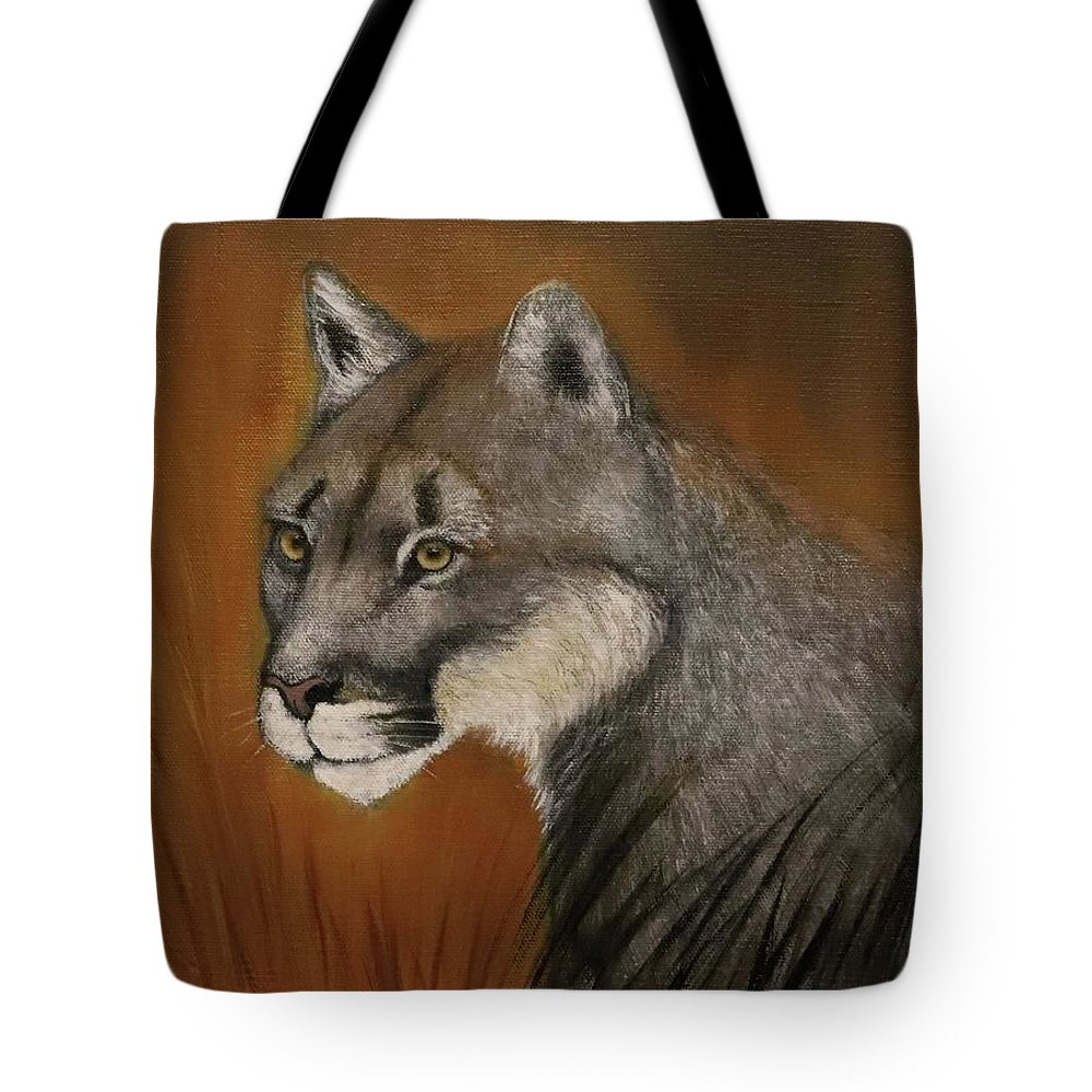 Cougar Tote Bag featuring the painting Night Watch by Suzy Combs