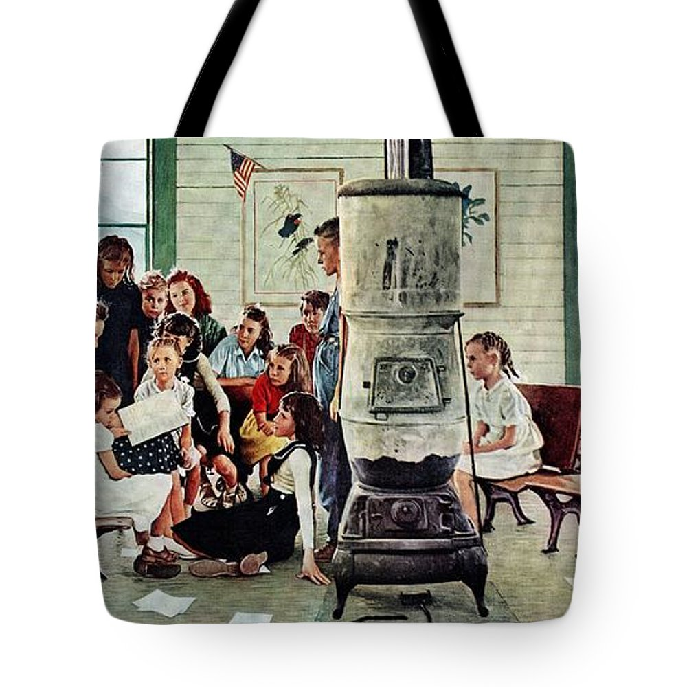 Book Tote Bag featuring the drawing Norman Rockwell Visits A Country School by Norman Rockwell