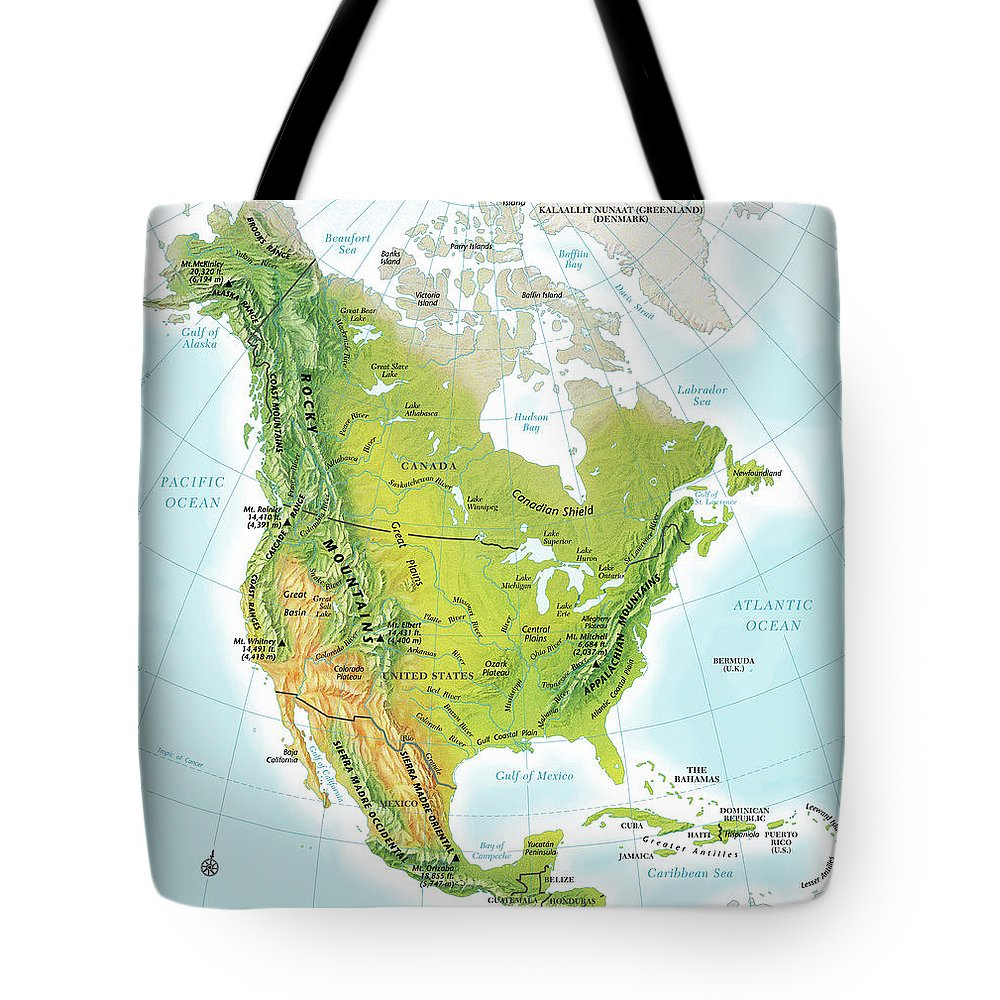 Compass Rose Tote Bag featuring the digital art North America Continent Map, Relief by Globe Turner, Llc
