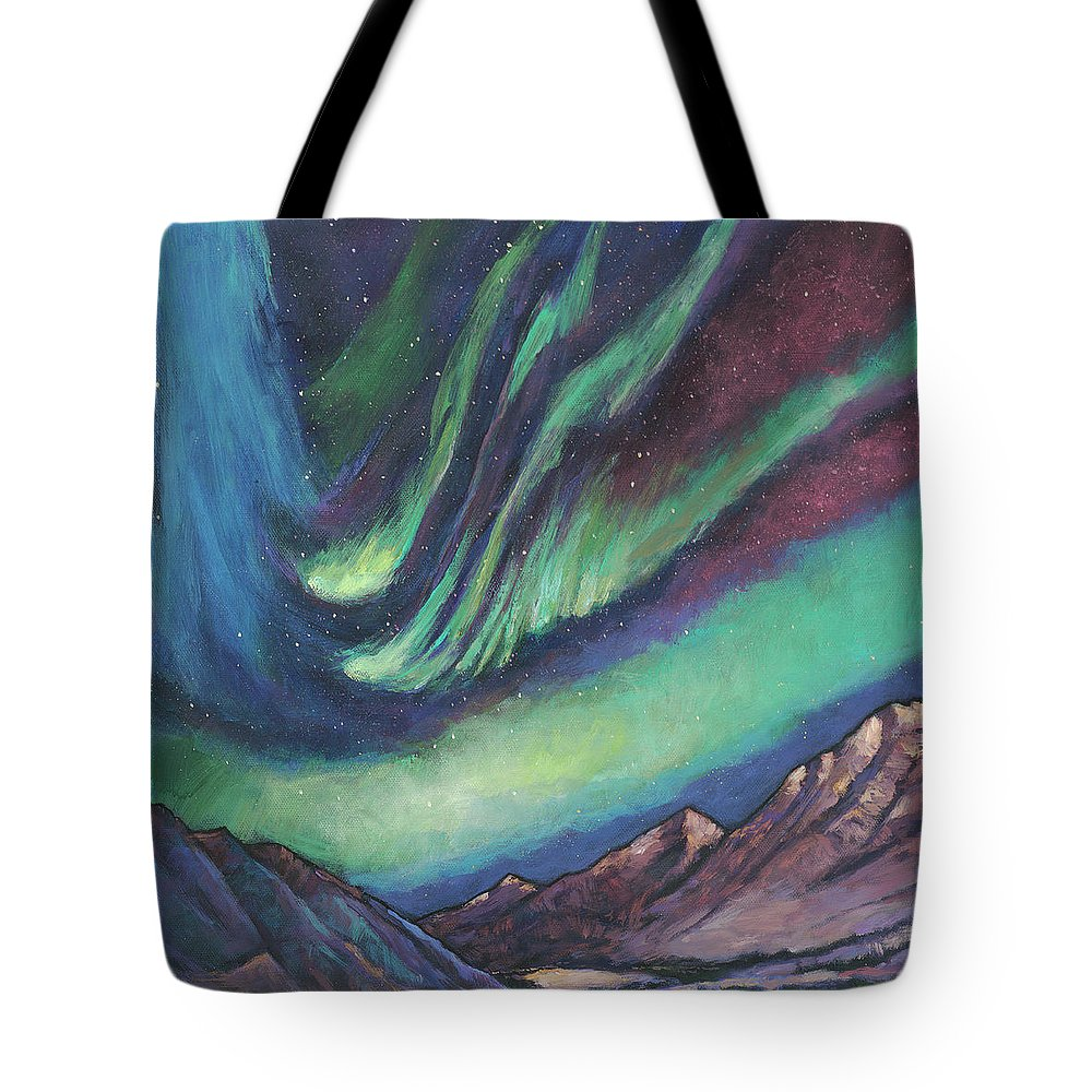 Northern Lights Tote Bag featuring the painting North By Northwest by Johnathan Harris