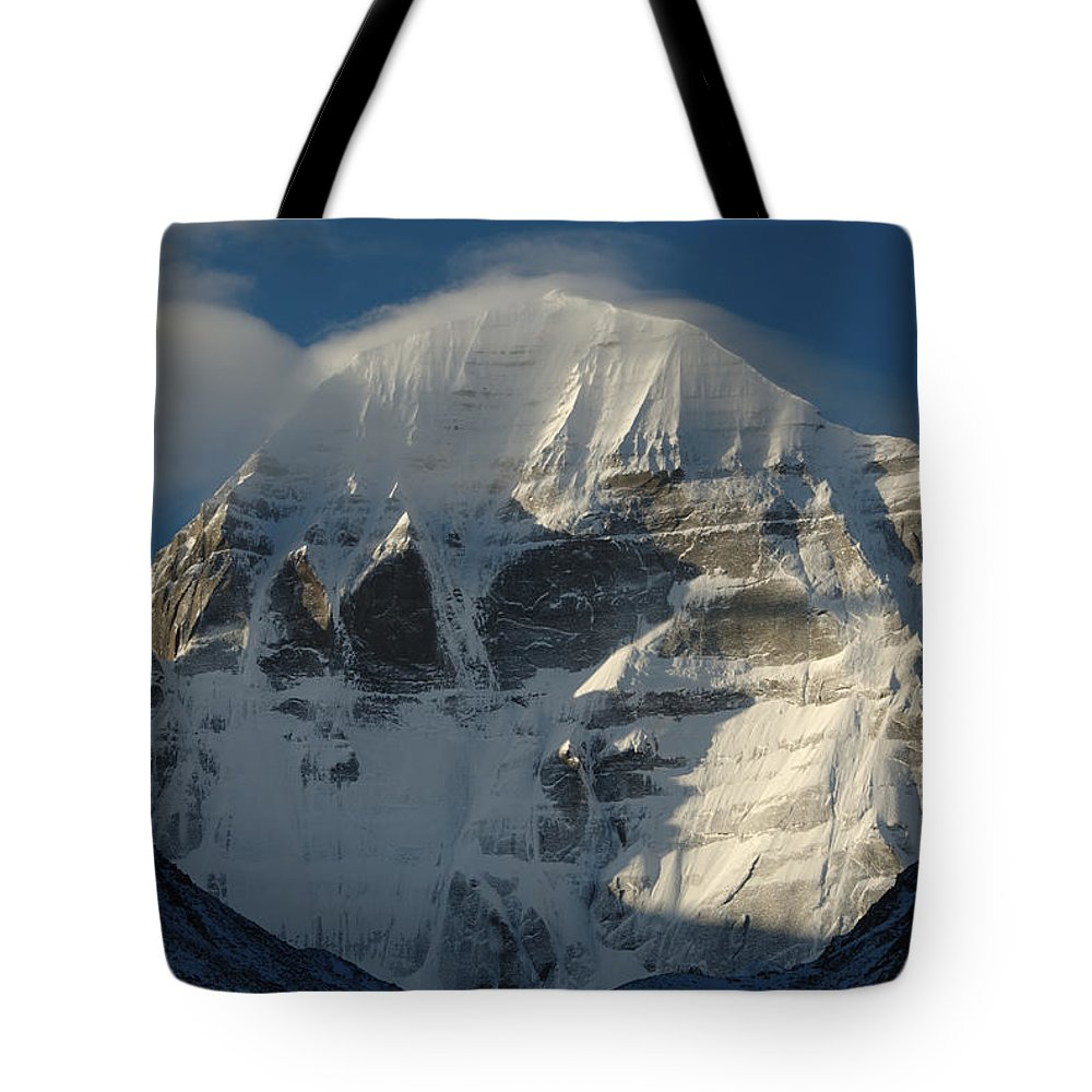 Chinese Culture Tote Bag featuring the photograph North Face Of Mount Kailash Gang by Tcp