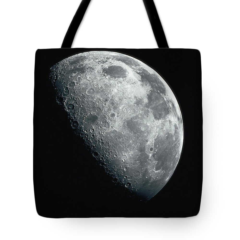 Clear Sky Tote Bag featuring the photograph North Pole Of The Earths Moon by Stocktrek