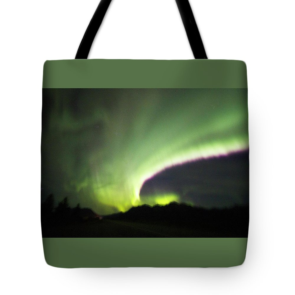 Red Tote Bag featuring the photograph Northern Lights by Suanne Forster