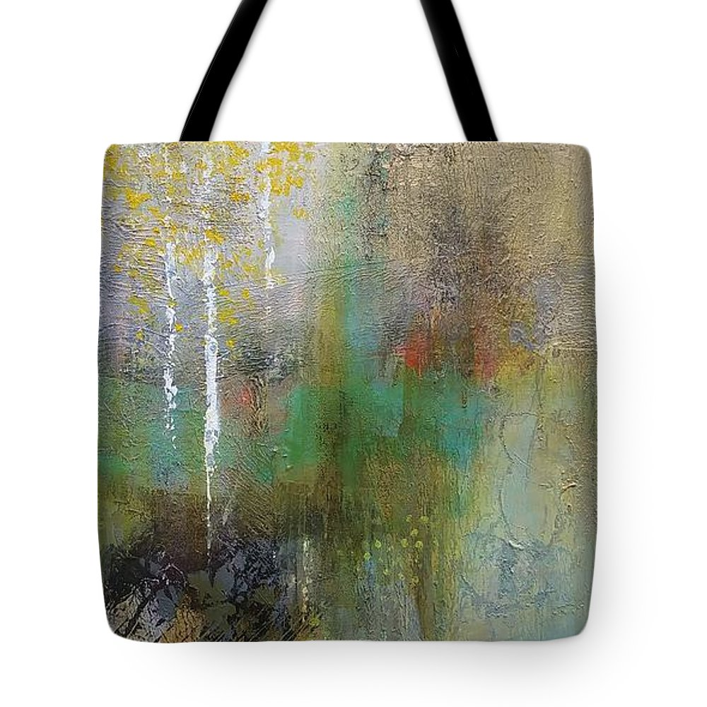 Aspens Tote Bag featuring the painting Northwest Aspens by Frances Marino
