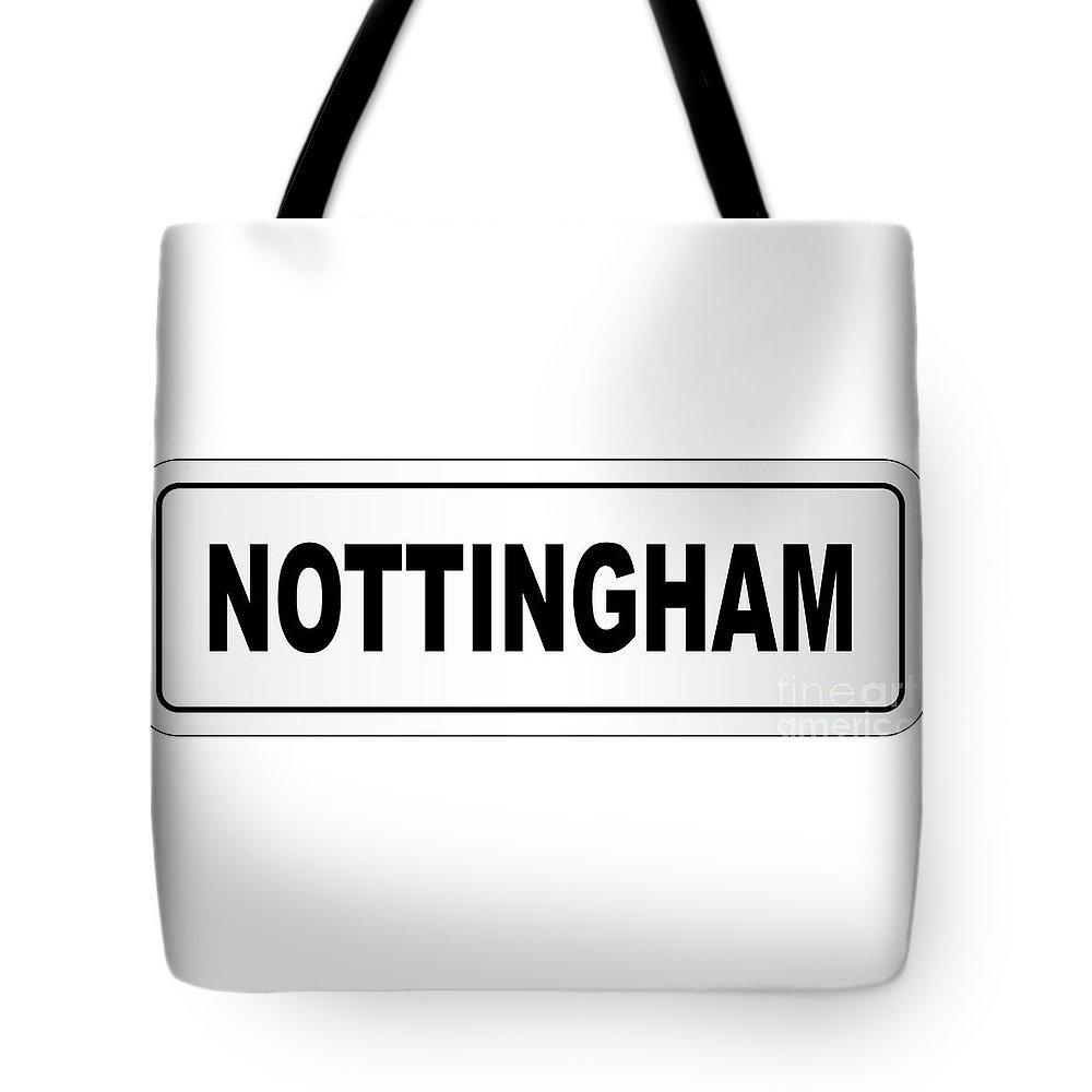 Nottingham Tote Bag featuring the digital art Nottingham City Nameplate by Bigalbaloo Stock