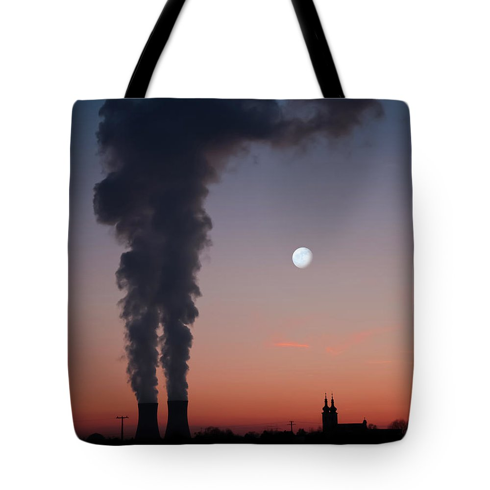 Air Pollution Tote Bag featuring the photograph Nuclear Power Station In Bavaria by Michael Kohaupt