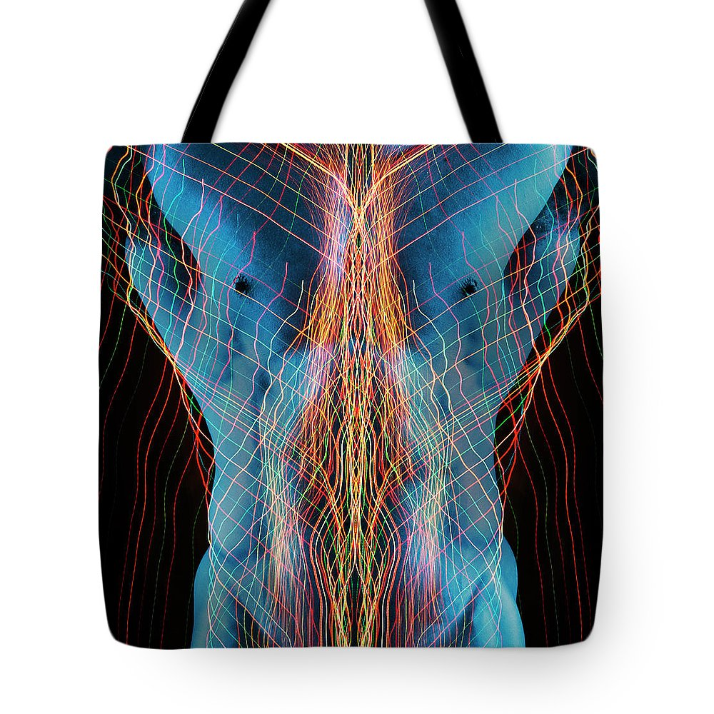 Torso Tote Bag featuring the photograph Nude Male Digital Composite by John Lund