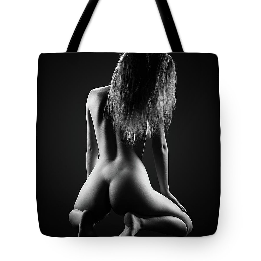 Woman Tote Bag featuring the photograph Nude woman bodyscape 32 by Johan Swanepoel