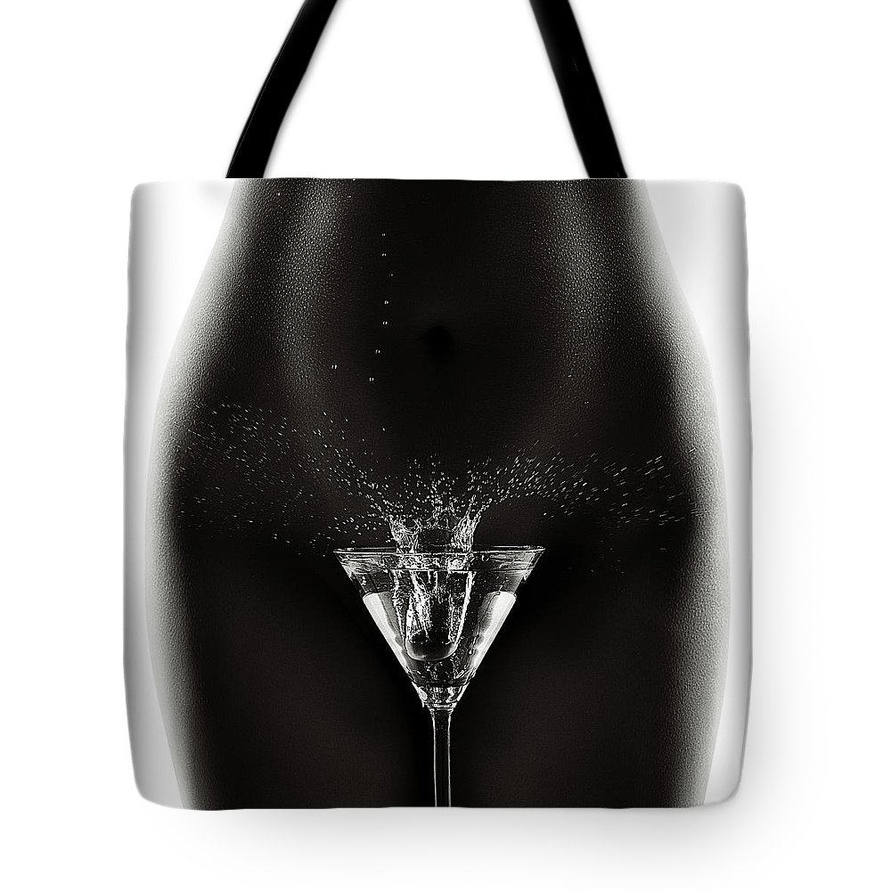 Woman Tote Bag featuring the photograph Nude Woman With Martini Splash by Johan Swanepoel