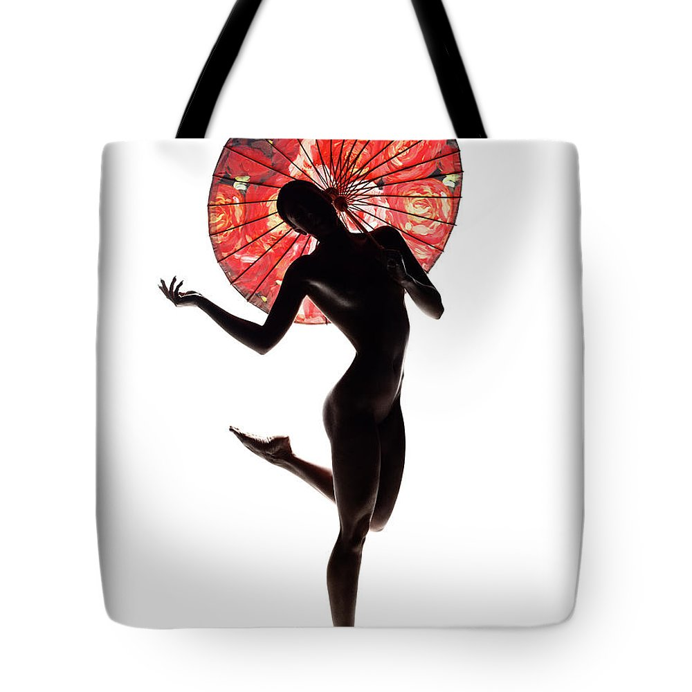 Woman Tote Bag featuring the photograph Nude Woman With Red Parasol by Johan Swanepoel