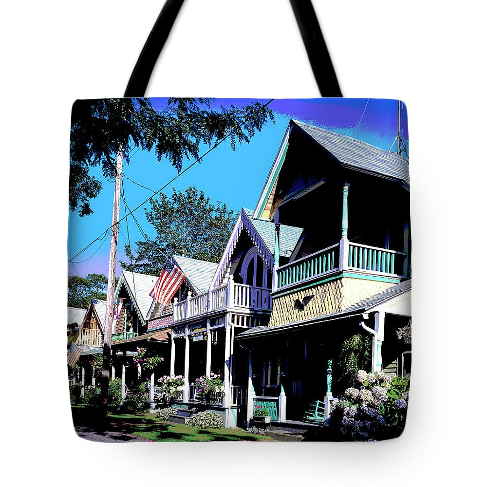 America Tote Bag featuring the mixed media Oak Bluffs Martha's Vineyard by Charles Shoup
