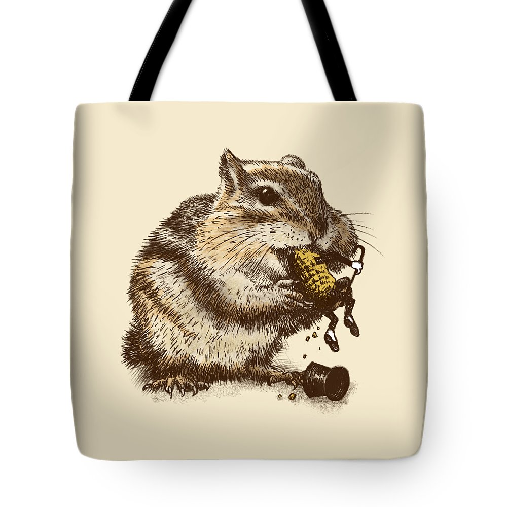 Chipmunk Tote Bag featuring the drawing Occupational Hazard by Eric Fan
