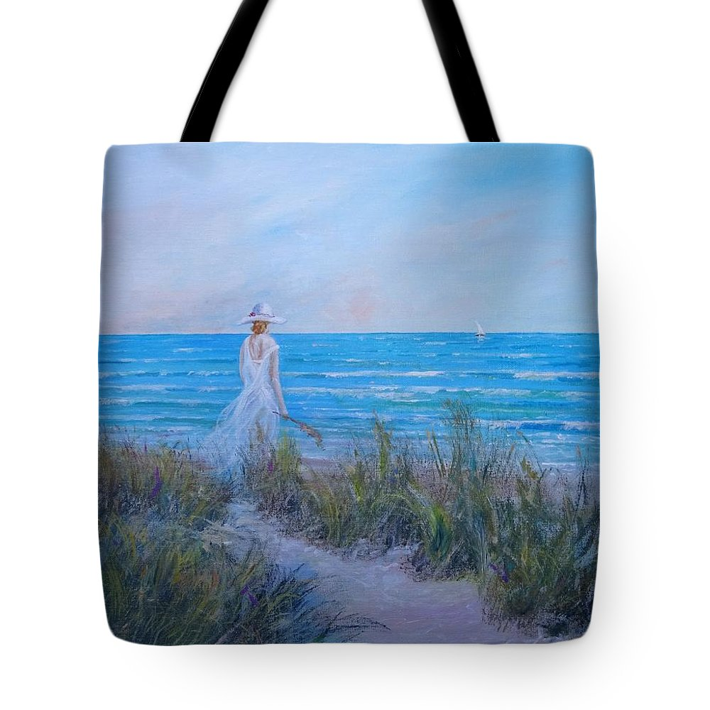 Coast Tote Bag featuring the painting Ocean Breeze by Sinisa Saratlic
