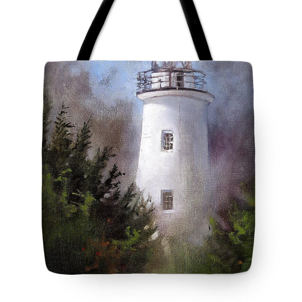 Ocracoke. Ocracoke Lighthouse. Lighthouse. Nc Lighthouse. Dan Nelson. Ocracoke Oil Painting. Ocracoke Lighthouse Oil Painting. Lighthouse Oil Painting. Nc Lighthouse Oil Painting. Dan Nelson Oil Painting. Tote Bag featuring the painting Ocracoke Light by Dan Nelson