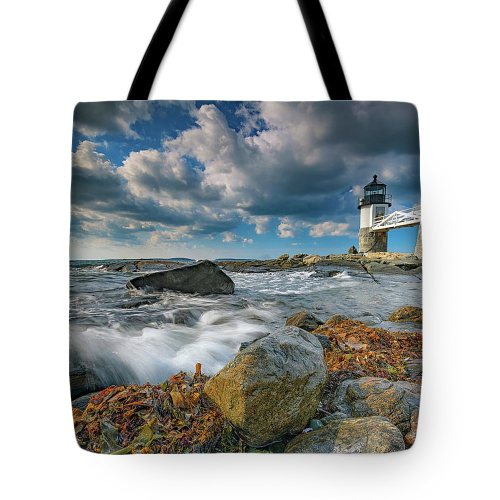 Marshall Point Lighthhouse Tote Bag featuring the photograph October Morning At Marshall Point by Rick Berk