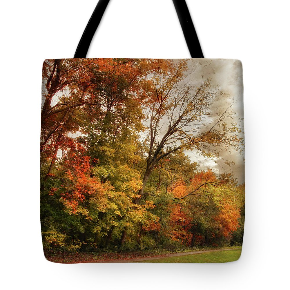 Autumn Tote Bag featuring the photograph October Skies by Jessica Jenney