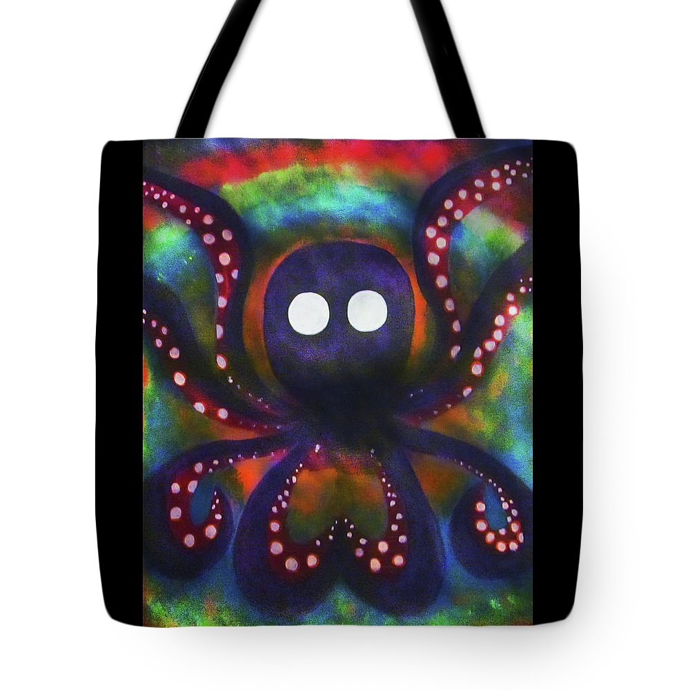 Octopus Colorful Tote Bag featuring the painting Octopus 2 by Ed Friends