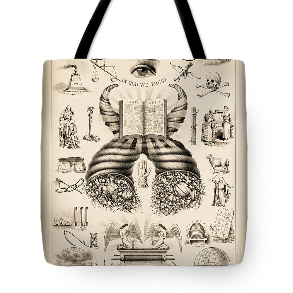Odd-fellows Chart Tote Bag featuring the painting Odd-fellows Chart, 1877 by American School