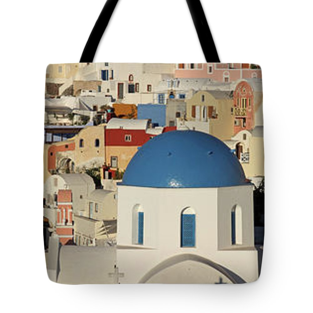 Tranquility Tote Bag featuring the photograph Oia Architecture by Sandra Kreuzinger