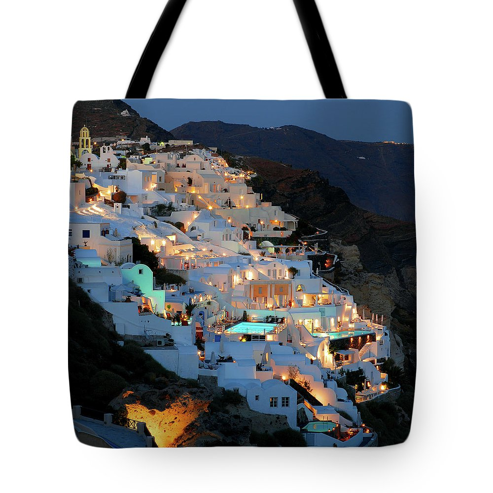 Tranquility Tote Bag featuring the photograph Oia, Santorini Greece At Night by Marcel Germain