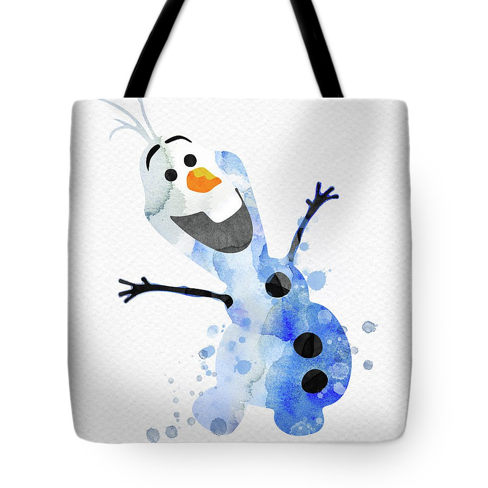 Olaf Tote Bag featuring the digital art Olaf Watercolor by Mihaela Pater
