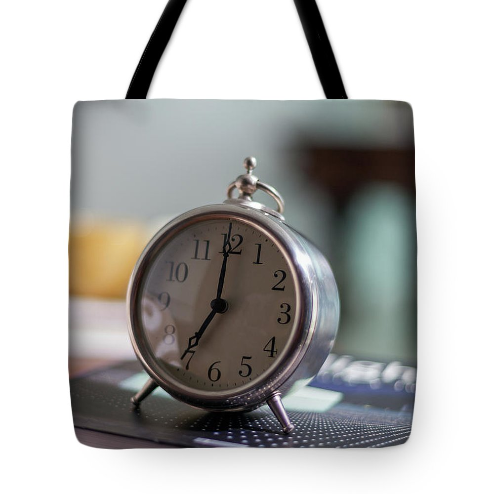 Madrid Tote Bag featuring the photograph Old Alarm Clock by Julio Lopez Saguar